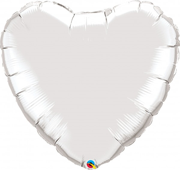 Folienballon Herz Silver (Silber) - 90cm