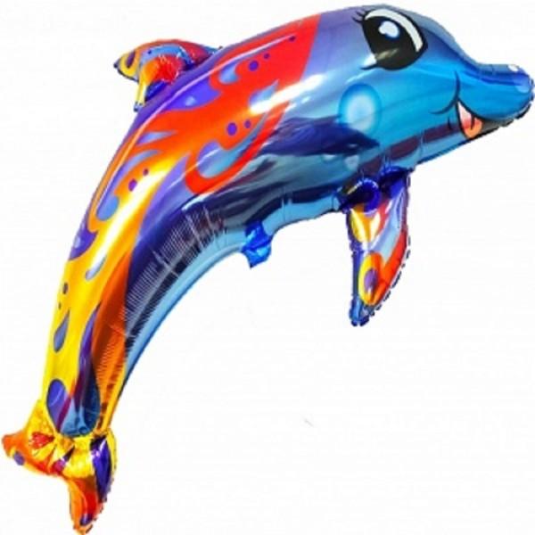 Multicolor Dolphin/Delfin Fish Folienballon 36in/91cm