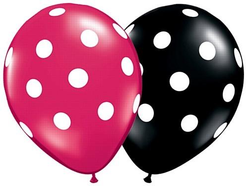 "Big Polka Dots Schwarz und Magenta 27,5 cm 11"" Latex Luftballons Qualatex"