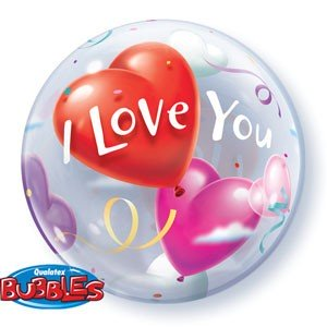"Qualatex Bubble I Love You Heart Valentinstag 22"" 56cm Luftballon"