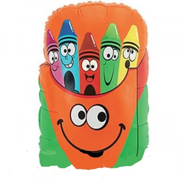Crayon Box / Schul Tasche mit Stiften Folienballon - 71cm