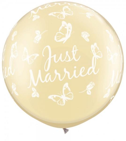 """Just Married Hochzeit Schmetterlinge 90cm 36"""" Latex Riesenluftballons Qualatex"""