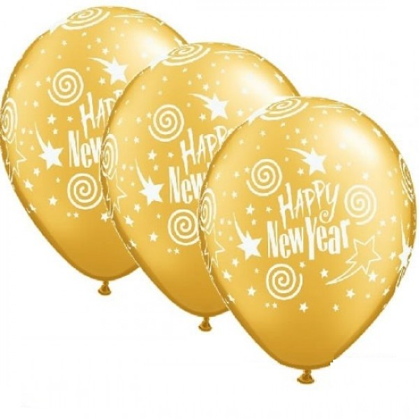 "Happy New Year Gold 27,5cm 11"" Latex Luftballons Qualatex"