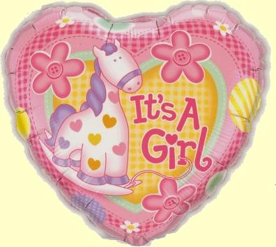 Mini Folienballon Its A Girl Pony - 22,5cm