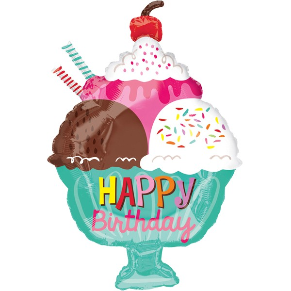 Eis Becher Happy Birthday Folienballon - 45cm