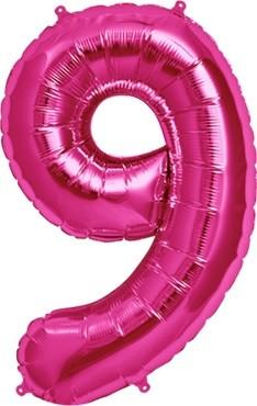 North Star Folienballon Zahl 9 (magenta) - 86cm