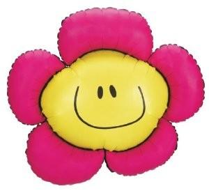 Mini Folienballon Blumen mit Gesicht fuchsia - 35cm
