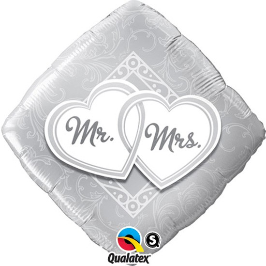 Mr. & Mrs. quadratischer Folienballon - 45cm