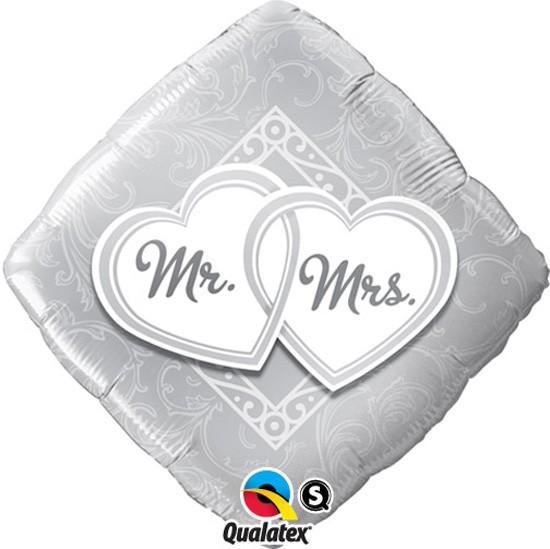 Mr. & Mrs. quadratischer Folienballon - 45cm