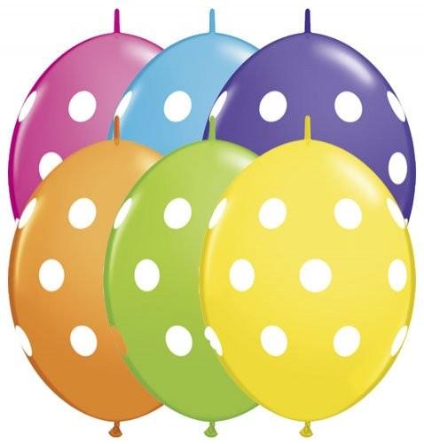 """Qualatex QuickLink Big Polka Dots Tropical Sortiment 30cm 12"""" Latex Luftballons"""
