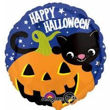 Katze mit Kürbis Happy Halloween Folienballon - 45cm