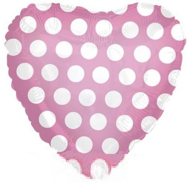 rosa Polka Dots Herz Folienballon - 45cm