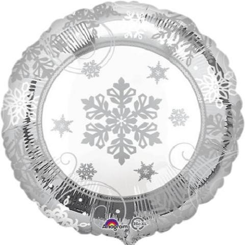 Sparkling Snowflakes Silver Folienballon - 45cm