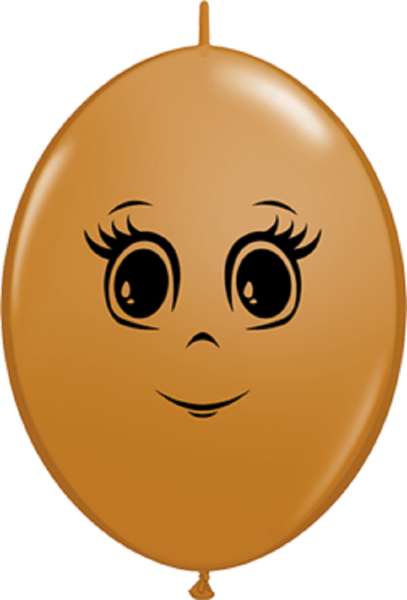 "QuickLink Feminine Face Mocha Brown 30cm 12"" Latex Luftballons Qualatex"