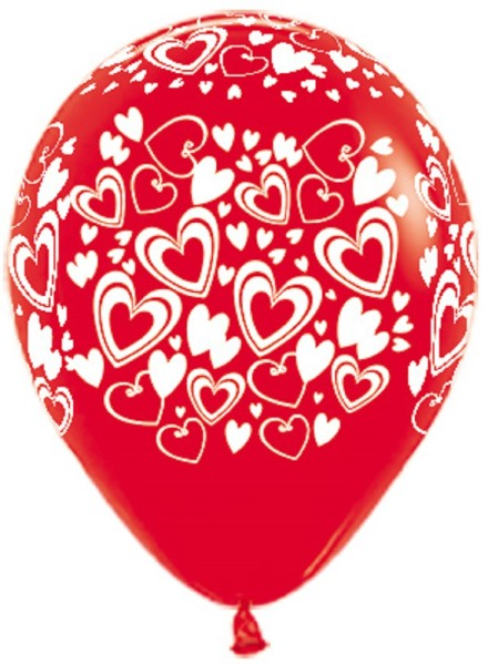 "Double Hearts 015 Fashion Red 12,5cm 5"" Latex Luftballons Sempertex"