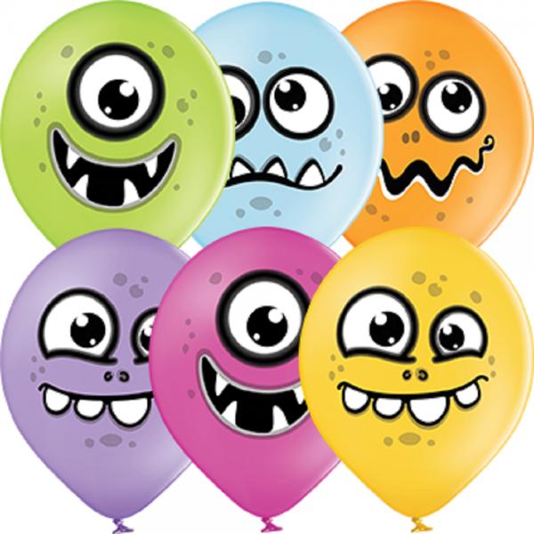 """Funny Monster Pastel Sortiment 30cm 12"""" Latex Luftballons Belbal"""