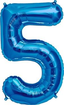 North Star Folienballon Zahl 5 (blau) - 86cm