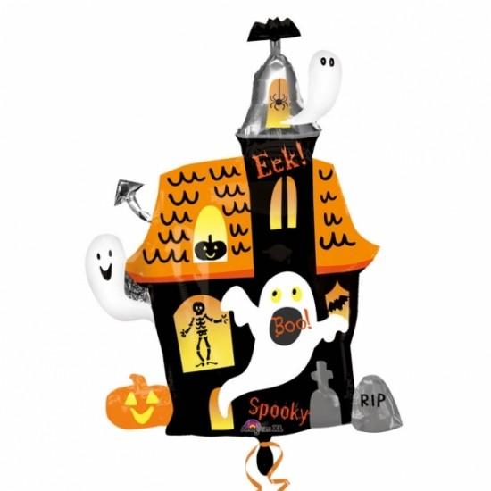 Geisterhaus / Gespensterhaus mit Kürbis Halloween Folienballon