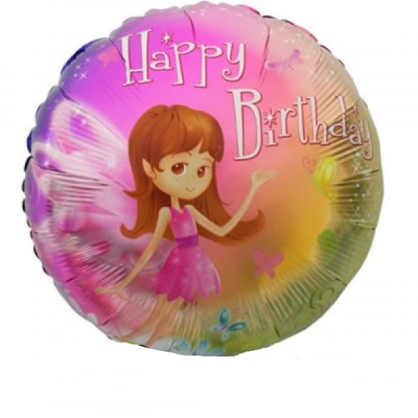Happy Birthday Kleine Fee Folienballon - 45cm