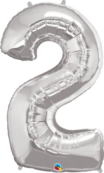Folienballon Zahl 2 (silber) - 86cm