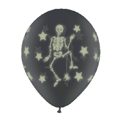 Latex Luftballons Glow Skeletons (Diamond Clear) - 27,5cm