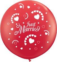 """Riesenluftballon Hochzeit (just married) rot 90cm 36"""""""