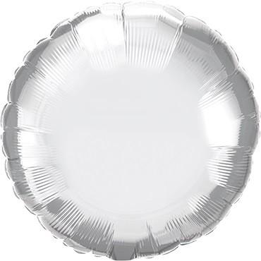 """Folienballon Rund Chrome Silver (Silber) - 45cm 18"""""""