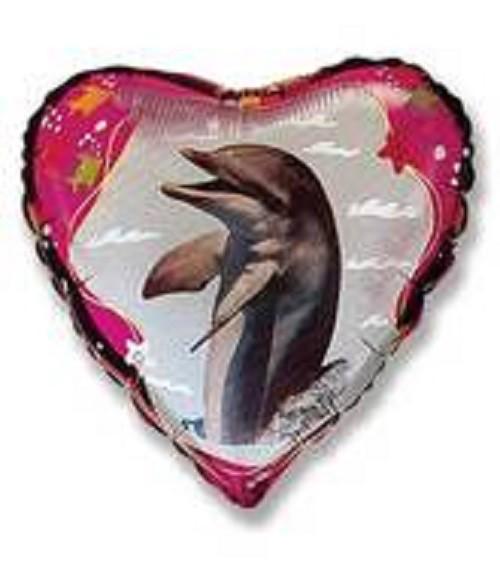 Delfin Herz Folienballon - 45 cm