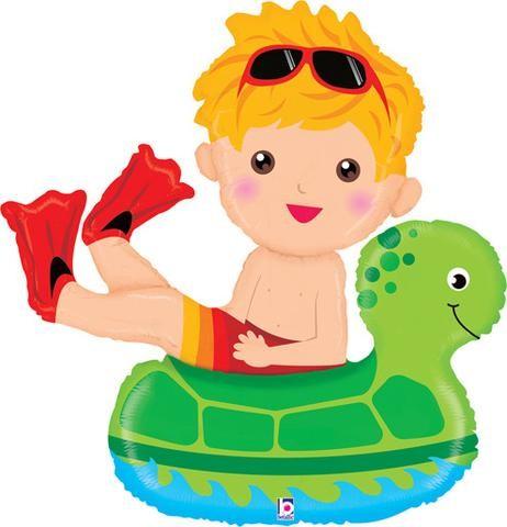 Junge im Schwimmring mit Schildkröte Folienballon - 104cm
