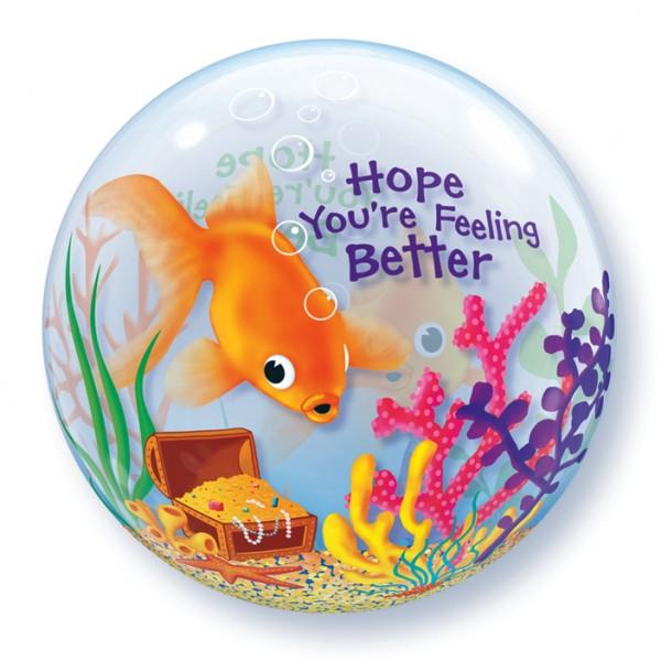 """Qualatex Bubble Gute Besserung Goldfisch 22"""" 56cm Luftballon"""