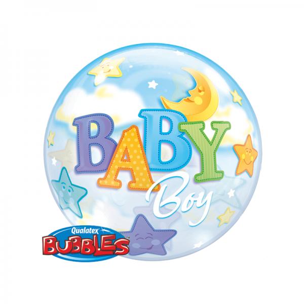 "Qualatex Bubble Baby Boy 22"" 56cm Luftballon"