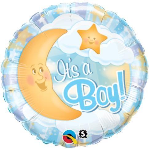 Baby Boy mit Mond blau Folienballon - 45cm