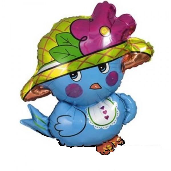 blauer Spatz mit Hut - 76cm