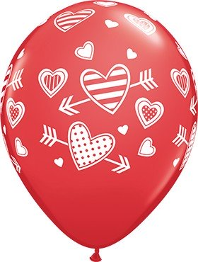 """Patterned Hearts and Arrows Standard Red Herz und Pfeil 27,5 cm 11"""" Qualatex Latex Luftballons"""