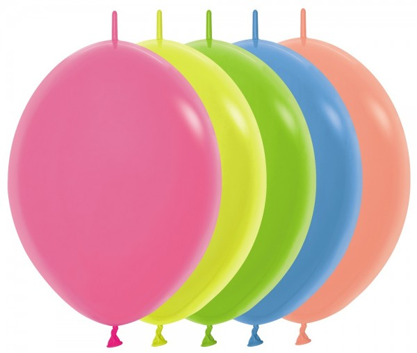 "Link o Loon 200 Neon Assorted Colors 30cm 12"" Latex Luftballons Sempertex"