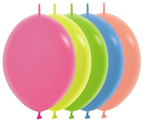"Link o Loon 200 Neon Assorted 30cm 12"" Latex Luftballons Sempertex"