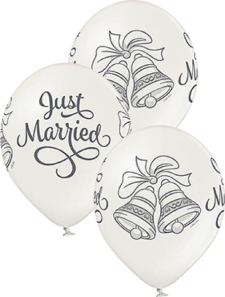 "Just Married Bells Metallic Pearl 30cm 12"" Latex Luftballons Belbal"