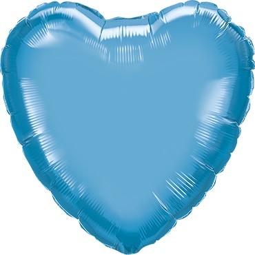 Folienballon Herz Chrome Blue (blau) - 45 cm