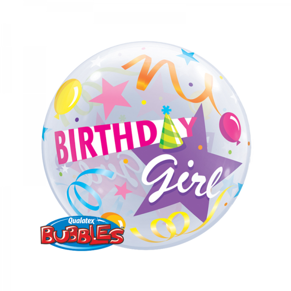 Qualatex Single Bubble Luftballons Birthday Girl Hut - 61cm