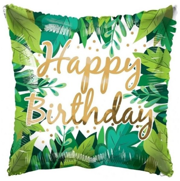 Happy Birthday - Jungle Leaves - 18 in/45cm - ECO