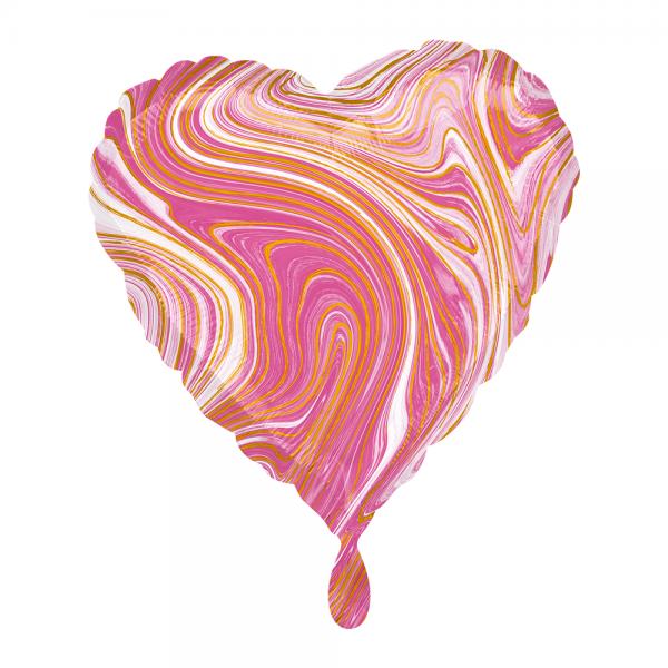Herz marmoriert Marblez Pink Folienballon - 43cm 17''