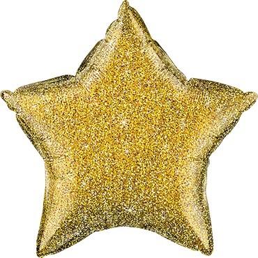 Folienballon Stern Glittergraphic Gold - 50 cm