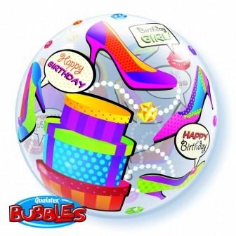 "Qualatex Bubble Birthday Girl Shopping 22"" 56cm Luftballon"