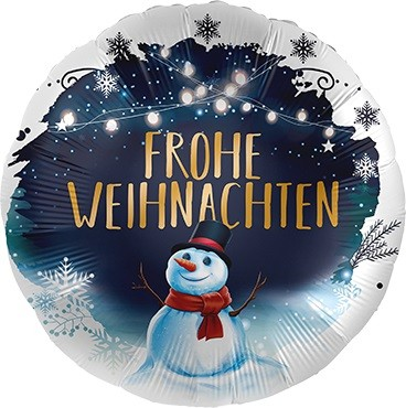 Frohe Weihnachten Schneemann Folienballon - 45cm