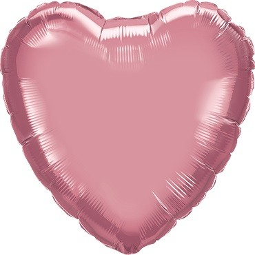 Folienballon Herz Chrome Mauve (hell lila) - 45 cm