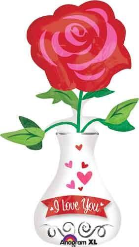 I Love you- Ich liebe Dich- Vase mit Rose Folienballon - 91cm