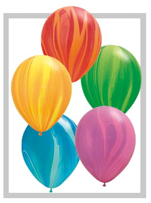 "Qualatex SuperAgate Rainbow Sortiment Regenbogen marmoriert 27,5 cm 11"" Latex Luftballons"