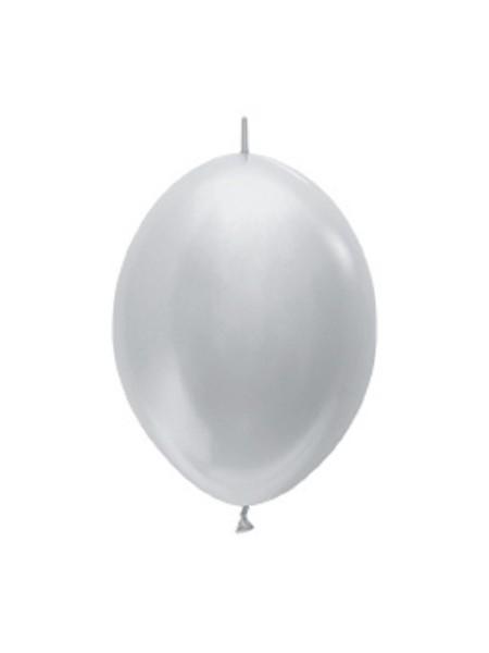 "Link o Loon 481 Satin Pearl Silver (Silber) 15cm 6"" Latex Luftballons Sempertex"