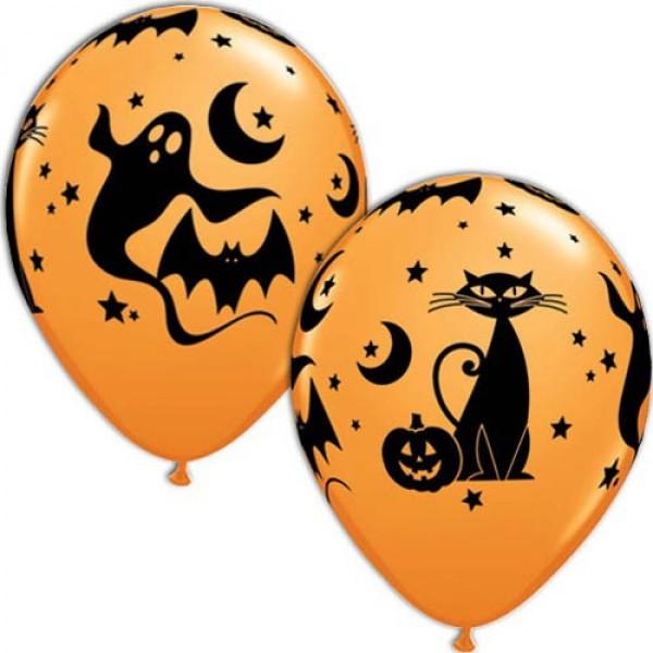 Halloween Latexballon mit Kürbis, Fledermaus, Geistern und Mond - 27,5cm