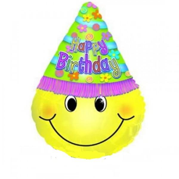 Smiley Gesicht mit Hut Folienballon - 75cm